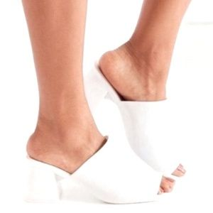 Jeffrey Campbell White Jelly Mules Open Toe